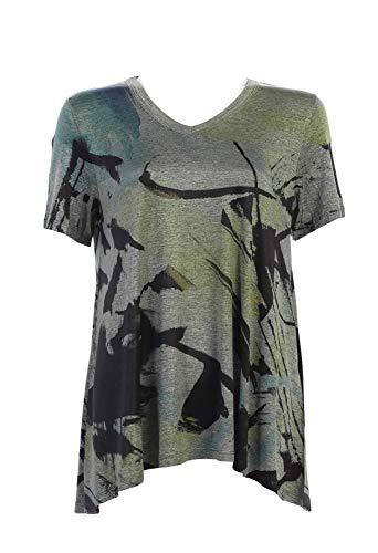 (Jess & Jane Women's Arizona Short Sleeve High Low Slinky Knit Tunic Top (Medium))