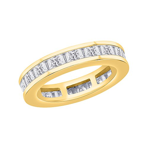 d Baguette Cut Diamond Eternity Band in 14K Yellow Gold (1 5/8 cttw) (JK-Color, SI2/I1-Clarity) (Size-6.75) ()