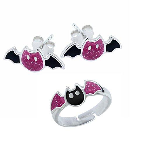 SL de Silver Juego infantil pendientes y anillo de niños pequeños Murciélago 925plata en caja de regalo