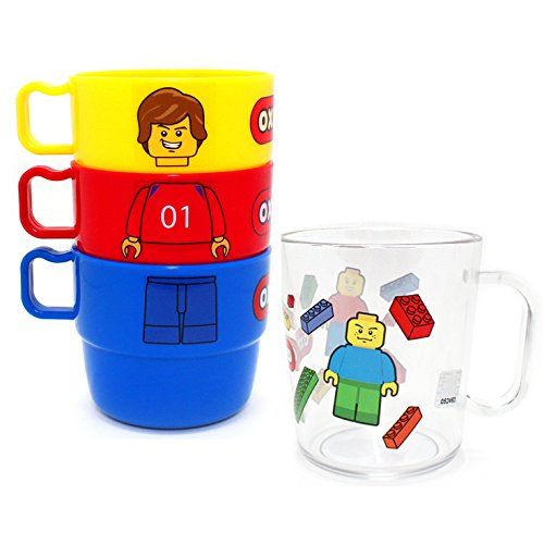 Oxford Figure Face Mug Water 3P Pile Cup + 1P Transparent Cup Set (Total 4P) for Kids, Children