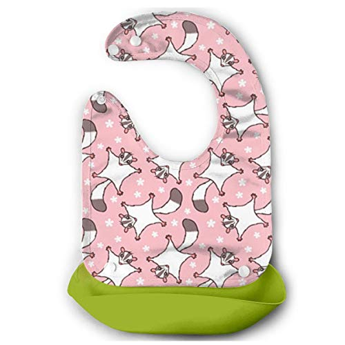 DESEEVI Sweet Sugar Glider with Flowers Pink Silicone Bib Waterproof Adjustable Snaps Baby Bibs for Infants and Toddlers Unisex