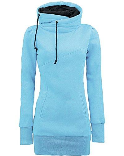 Felpa Maniche Blu Lunga Slim Fit Lunghe Tops Felpe Donna Sweatshirt Con Hoodies Cappuccio qT1zH