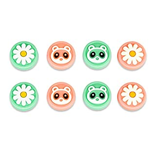SNCE TREND Thumb Grip Caps Compatible with Switch & Lite Cute Design Soft Silicone Joystick Covers 8 Pack Suitable for Switch Joy-con Pink & Green