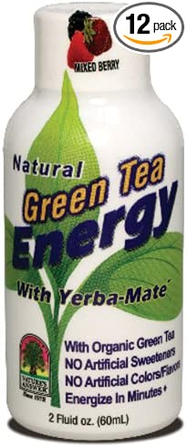 Nature's Answer Green Tea Energy Shot with Mixed Berries   Dietary Supplement   No Artificial Colors, Flavors or Sweeteners 2oz (12 Pack)