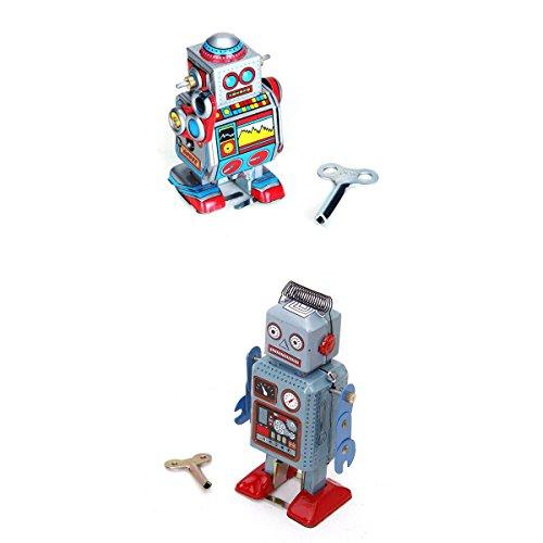 photo 2pcs Jouet Robot dans la collection Clé Mécanique Jouet Fer Cadeau de Collection Pour Enfant