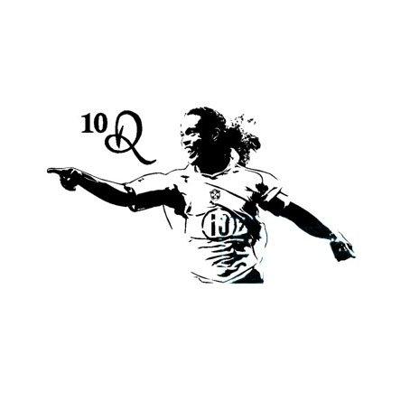 Fangeplus(R) DIY Removable Ronaldinho Soccer Star Football Player Sportsman Art Mural Vinyl Waterproof Wall Stickers Kids Room Decor Nursery Decal Sticker Wallpaper 23.6''x13.7'' -