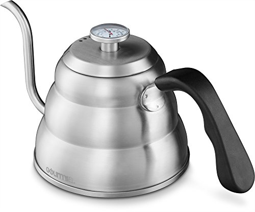 Flow Breakfast Cup (Gourmia GCK9975 Pour Over Coffee Kettle with Built In Thermometer For Perfect Temperature and Gooseneck Spout - Stainless Steel Stovetop Tea Pot - Induction Stove and Fire Safe - 1.2 Liter)