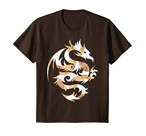 Kids Tribal Dragon T-Shirt white gold Art Design Fashion 12 (White Gold Dragon Shirt)