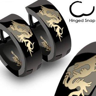 SER-0011 Pair of 316L Stainless Steel Dragon Design Plain Black Huggie Hoop Earrings