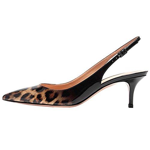 Juni Verliefd Dameskatje Hakken Pumps Spitse Neus Slingback Schoenen Voor De Gebruikelijke Dagelijkse Slijtage Black & Leopard