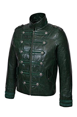 Smart Range Neu BATAILLON Herren Grün Glasur 2212 Militär Stil Steam Punk Echtes Lederjacke