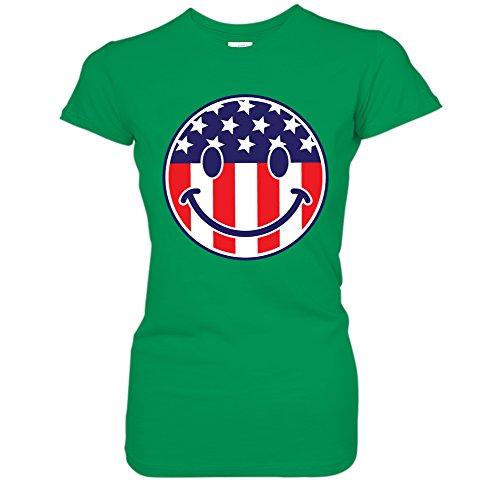 Face Emoji Emoticon - Stars & Stripes USA Juniors T-Shirt (Medium Kelly) ()