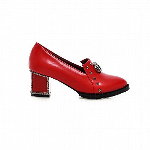 Latasa Womens Chic Retro Mocassini Slip-on Tacco Medio Con Tacco Rosso