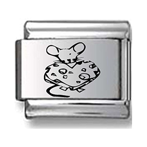 Mouse eating Cheese Laser Italian Charm