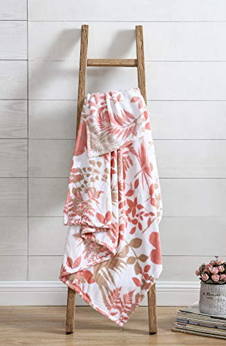 All American Collection Belize Blush Plush Throw | Decorative Abstract Floral Design | Great For Couch Bedroom Or Travel | Unique Accent Piece Ultra Soft | Multi-Purpose Plush Throw 50x70 Inches