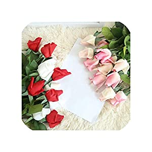 3Pcs Artificial Flowers Real Touch Rose Bud Latex Rose Wedding Fake Flowers for Home Decor Valentine's Day Christmas Party Gift 80