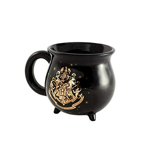 (Harry Potter Cauldron Mug–Ideal Drinkware for Muggles, Coffee, Tea, Hot Chocolate, Soup – A Magic Novelty Gift for Slytherin and Gryffindor Potterheads – Black w/Dazzling Gold Hogwarts Quote, 22 fl oz)