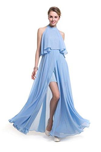GWELL Elegant Damen Chiffon Maxikleid Neckholder Ärmellos Sommer Frühling  Kleider Abend Cocktailkleid Lang Brautjungfernkleid Blau xhW0VKG ... 9f1a1091af