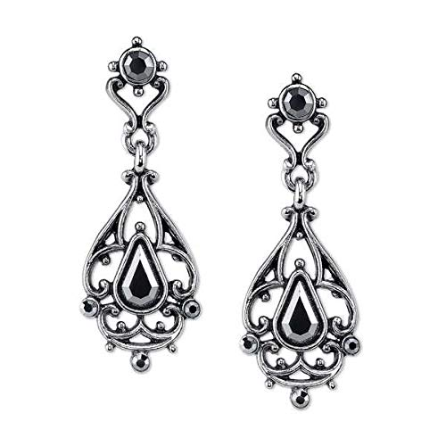 Downton Abbey Boxed Antiqued Silver-Tone Metallic Black Crystal Earrings ()