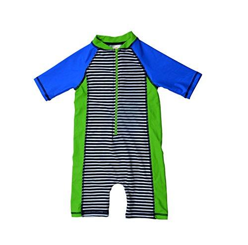 - Bonverano(TM Kids UPF 50+ Sun Protection S/S One Piece Zip Sun Suit (12-18 Months, Stripe)