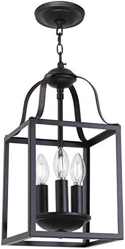 MELUCEE Black Pendant Light 8 Inches Lantern Chandelier Farmhouse 3 Lights E12 Base, Dining Room Lighting Fixtures Hanging Kitchen Island Lighting Entry Light Fixtures