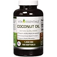 Vita Essentials Coconut Oil 1000mg Soft Gels, 180 Count