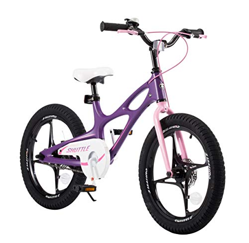 RoyalbabySpace Shuttle Lightweight Magnesium Kid's Bike with Disc Brakes for Boys and Girls, 18 inch with Kickstand, Lilac by Royalbaby (Image #2)