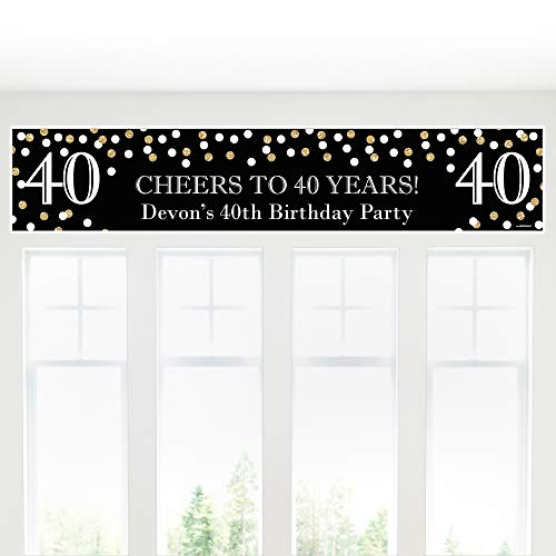 Big Dot of Happiness Custom Adult 40th Birthday - Gold - Personalized Birthday Party Decorations Party Banner