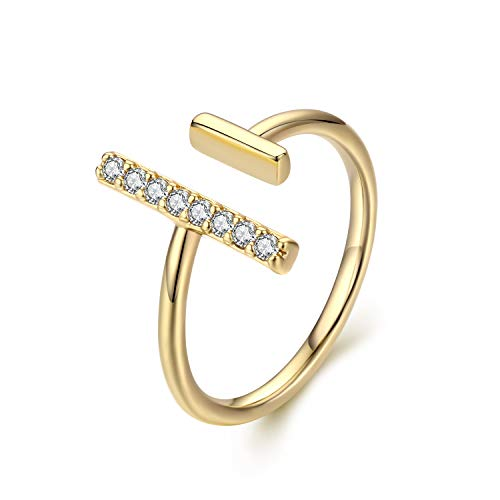 (Womens 14k Gold Open Parallel Bar Rings,Double X Criss Cross Double Bar Parallel Cuff Half Circle Black Zircon Infinity Adjustable Ring Engagement Wedding Lady Girls Band(RING-cz2BAR-7) )