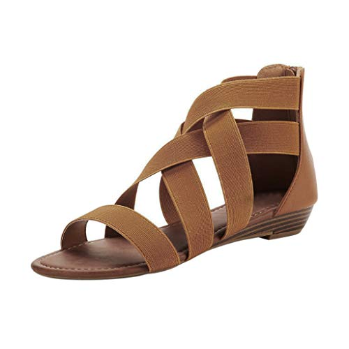 (Women's Summer Comfort Ankle Low Wedges Sandals Cross Elastic Strap Open Toe Gladiator Flat Shoes Brown)