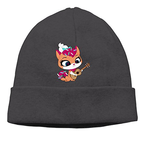 [SBPZEB Adult Beauty Cat With Guitar Beanie Skully Cap Hat Watch Hat Ski Cap Hat Black] (Bay Watch Costumes)
