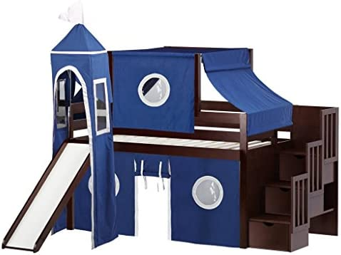 JACKPOT Castle Low Stairway Blue White Tent Loft Bed