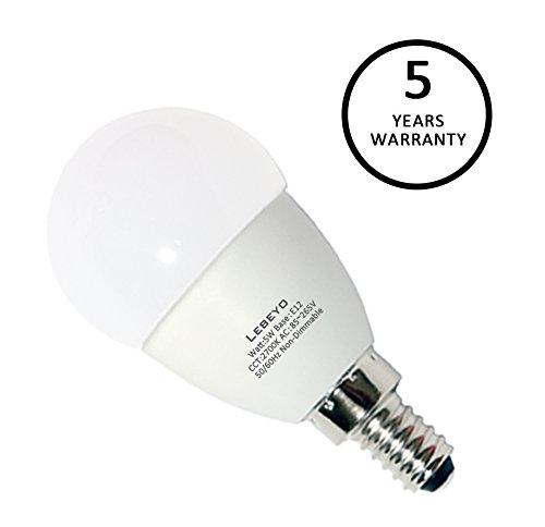 GLE12-04, Pack of 6 Lebeyo E12 LED G45 Bulb Lamp 5W 50W Equivalent Candelabra Warm White 2700K Light Bulb