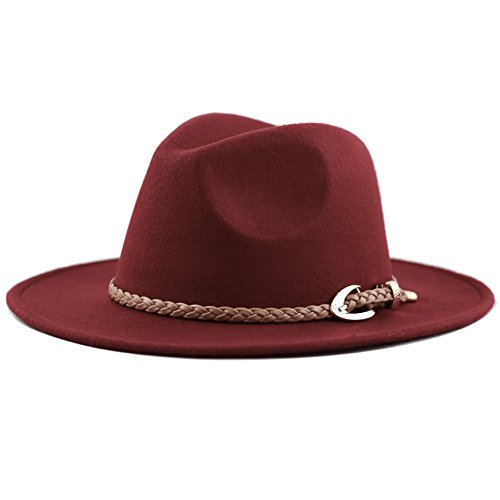 The Hat Depot Women's Felt Fedora Winter Hat with braided faux leather band (Burgundy)