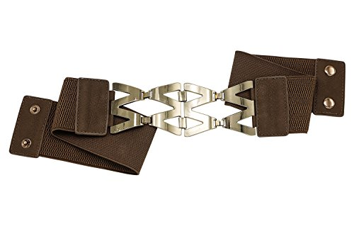Brown Women's Elastic Stretch Belt With Interlocking Buckle