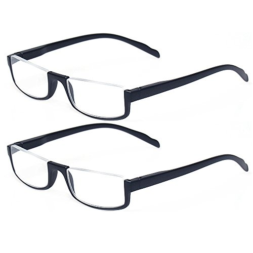 (Reading glasses 2 Pair Half Moon Half Frame Readers Spring Hinge Men and Women Glasses (2 Pack Black,)