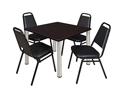 "Kee 36"" Square Breakroom Table- Mocha Walnut/ Chrome & 4 Restaurant Stack Chairs- Black"