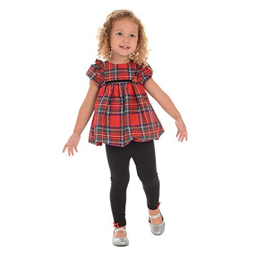 Girls Puff Top Sleeve - Pastourelle by Pippa & Julie Girls Puff Sleeve Top and Legging Clothing Set, Christmas Red Plaid, 3T