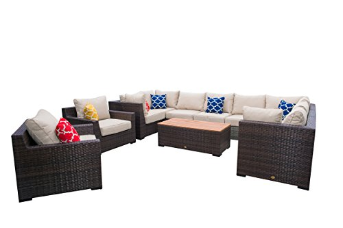 Cheap Vida Outdoor Pacific 11 Piece Wicker Sectional Set with Wheat Cushions