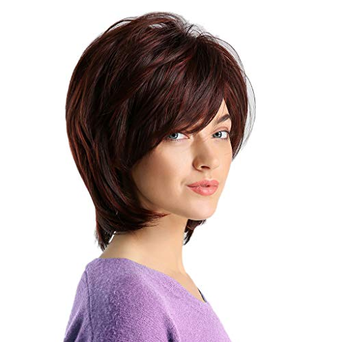 Koolsants Summer Brown Bob Wigs with Bangs Short Straight Synthetic Hair for Women Daily Everyday Wear Cosplay Costume Halloween Party Cross Dressing -
