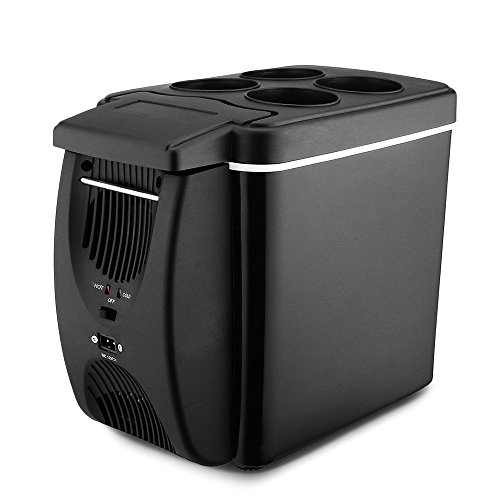 iPstyle Car Seat Cooler, Portable Car Refrigerator Cooler Warmer Dual Use Truck Electric Fridge 6L for Travel RV Boat (Black 6L)