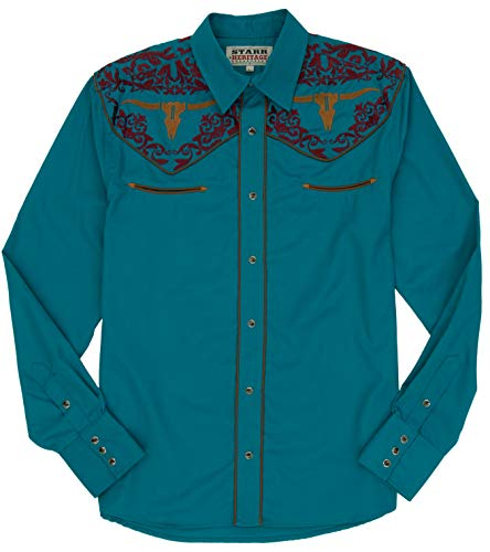 (STARR Heritage Vintage Embroidered Western Snap Shirt SHC004-8 | Retro Cow Skull)