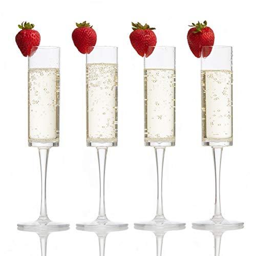 Premium Plastic Champagne Flutes • Unbreakable, Reusable Plastic Champagne Flutes • Set of 4 Toasting Flutes • Plastic Champagne Glasses by - Toasting Resin Flutes