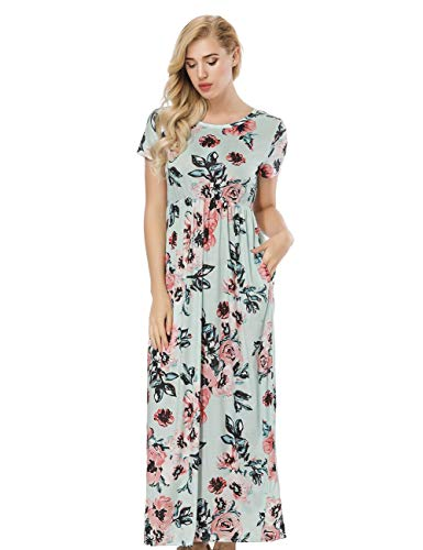 Elgant 5XL Haute Longue Robe Imprime Robe Chic Court Taille avec Jupe FeelinGirl Vert S Femme Poche ete Manche Charmant 6TpYTqx