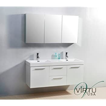 54 inch bathroom vanity double sink. Virtu USA JD 50154 GW 54 Inch Midori Double Sink Bathroom Vanity  50754 Finley