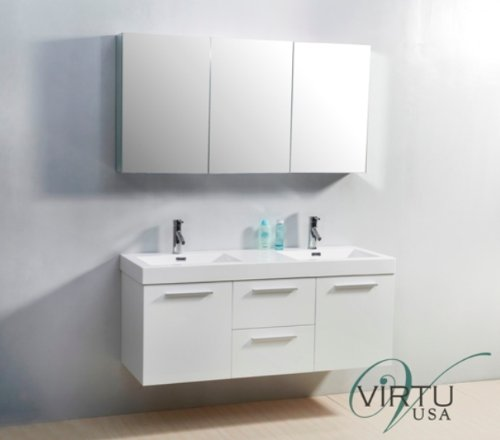 Virtu Usa Jd 50154 Gw 54 Inch Midori Double Sink Bathroom Vanity  Gloss White