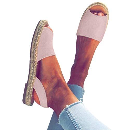 (WEISUN Women Flat Sandals Women Ankle Strap Roman Slippers Summer Espadrilles Retro Peep-Toe Sandals Ladies Beach Shoes Pink )