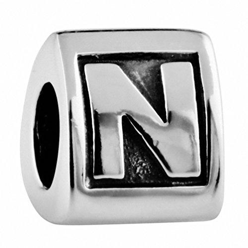 925 Sterling Silver Letters Charms for Bracelets, Alphabet Initials N (Dance Italian Charm Bracelet)