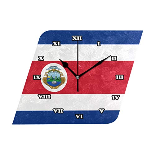 (Nugier Costa Rica Flag Square Wall Clock Silent Non Ticking Custom Acrylic Painted Easy to Read Non-Ticking Home Art Bedroom Living Dorm Room Decor 10.23