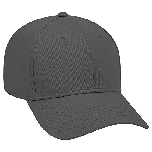 Grey 6 Panel Cotton Twill - OTTO 6 Panel Low Profile Superior Cotton Twill Cap - Char. Gray